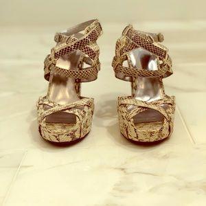 Snakeskin Calvin Klein High-Heel Strappy Sandals
